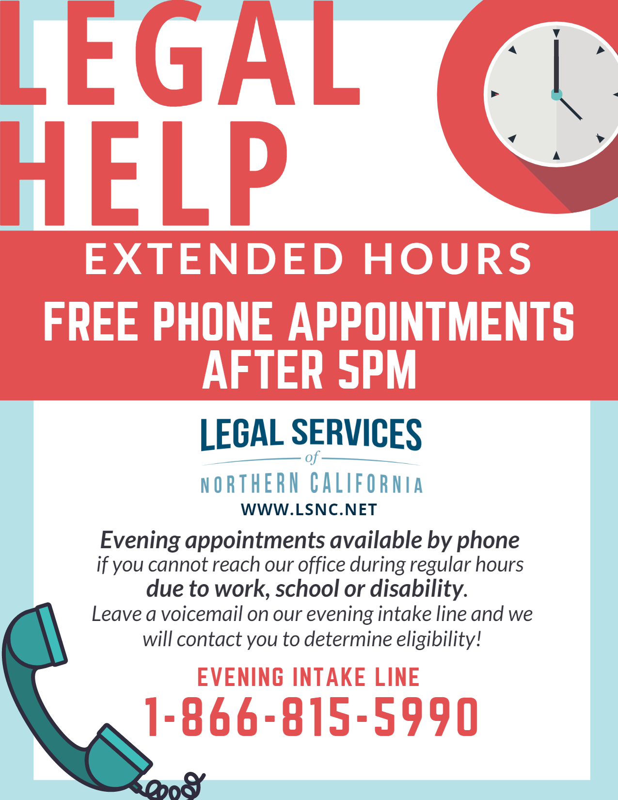Flyer for Legal Services of Northern California (LSNC)